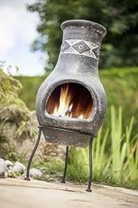 La Hacienda Grey Clay Chiminea with Diamond design Patio Heater