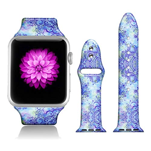 FTFCASE Sport Bands Compatible with iWatch 42mm/44mm Floral Totem - Cashew, Flower Printed Soft Silicone Strap Replacement for iWatch 42mm/44mm Series 4/3/2/1 Women Men