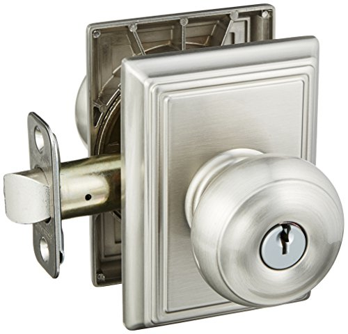 Schlage Lock Company F51AGEO619ADD Satin Nickel Georgian Keyed Entry F51A Panic Proof Door Knob with Addison Rosette