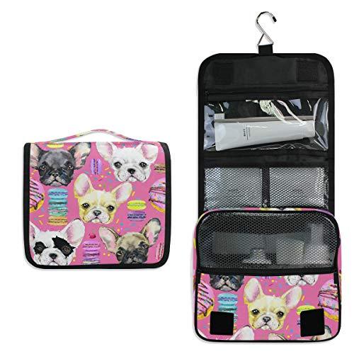 JOYPRINT Hanging Toiletry Bag Animal Dog French Bulldog, Makeup Bag Cosmetic Bag Bathroom Travel Organizer Large for Women Girls