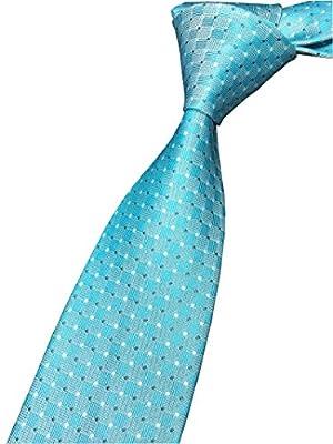 Elfeves Men's Modern Polka Dot Geometric Patterned Formal Ties Skinny Neckties
