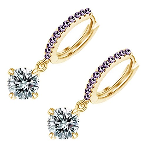 GWG 18K Gold Plated Round Sparkling Diamond Clear Crystal Pendant on Circle Graced with Amethyst Purple Stones Classic Ladies Hoop Earrings for Women