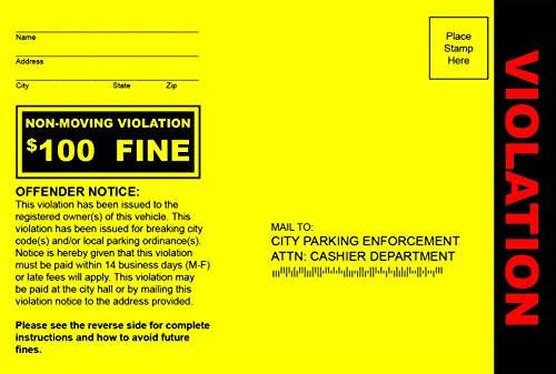 (Fake Parking Tickets - Pack of 100)