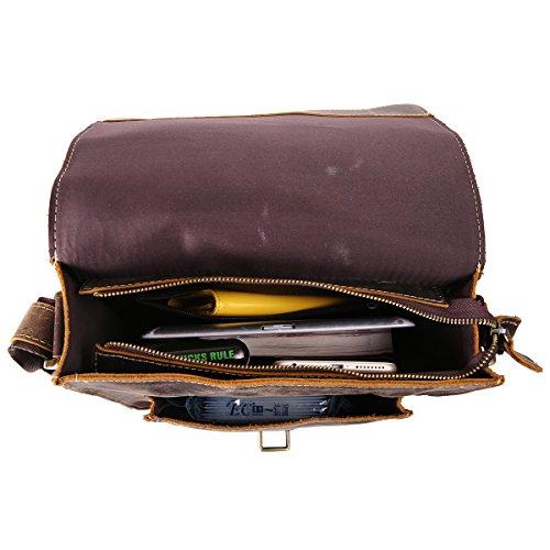 Leathario mini bolso bandolera de moda de cuero de caballo loco de primer capa colgado cruzado sobre el pecho y el hombro o de hombros para hombres (marrón oscuro) MARRÓN OSCURO 1