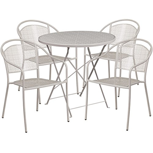 MFO 30'' Round Light Gray Indoor-Outdoor Steel Folding Patio Table Set with 4 Round Back Chairs