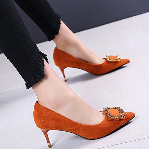 Printemps Femmes Bon Chaussures Pendant La Avec Le Sexy Faible Travail Lumière Orange L'Automne 6Cm 35 Unique Et SFSYDDY Avec Du Chaussures Chaussures Pointe pt7npW8H