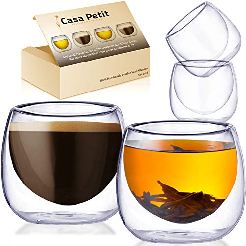 Casa Petit Hand Blown 2.7oz Espresso Coffee Cups - Set of 4 Premium Insulated Small Double Wall Demitasse Glass Coffee Cup for Cafe Cubano, Tea and Turkish Coffee