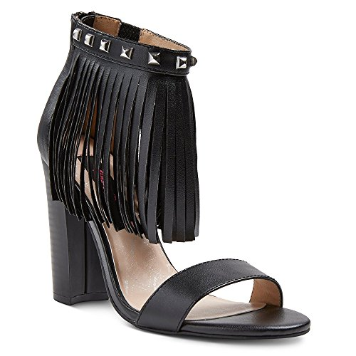 Betseyville Women's Haley Slide Sandals with Studs and Fringe Detail at Ankle (6, Black) (Johnson Betsey Leather Wedges)