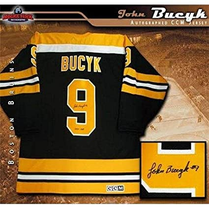 f2268cd94 Image Unavailable. Image not available for. Color  Johnny Bucyk Signed  Jersey - John Black ...
