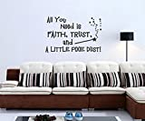 trfhjh Quotes Wall Sticker Home Art All You Need Is Faith Wall Sticker Removable Art Vinyl Quote Wall Sticker Decal Mural Home DecorationFor Bedroom Living Room Kids Room