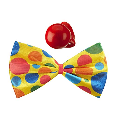 [Giant Yellow Foam Clown Bow Tie & Honking Red Nose Set] (Epic Halloween Costumes For Men)