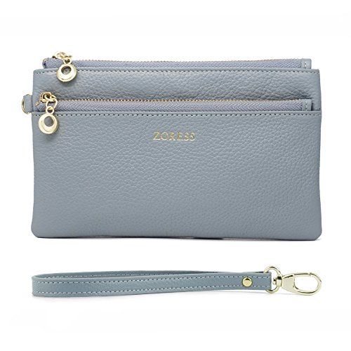 ZORESS Women Genuine Leather Wristlets Bag, Clutch Organizer Wallets Purses for iPhone(Blue Long) by ZORESS