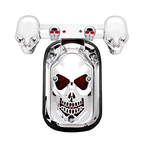 All-in-One Chrome Skull Badge Turn Signal Blue & Red Intergrated Brake Rear Tail License Plate Light