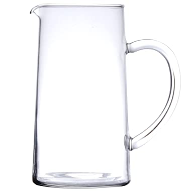 Luminarc for James Scott SMALL 43 3/4 Ounce Capacity (1.3 Liter) Glass Clear Pitcher with Pour Lip-7 7/8 x 4 1/4 inch Beverage Glass Carafe for Juice Lemon Water Iced Tea