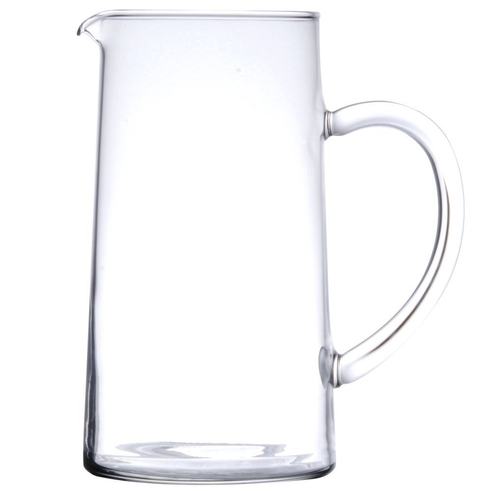 Luminarc for James Scott SMALL 43 3/4 Ounce Capacity (1.3 Liter) Glass Clear Pitcher with handle, Pour Lip-7 7/8 x 4 1/4 inch Beverage Glass Carafe for Juice Lemon Water Iced Tea