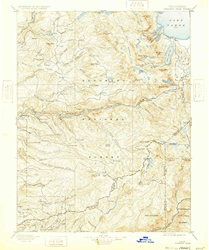 YellowMaps Pyramid Peak CA topo map, 1:125000 Scale, 30 X 30 Minute, Historical, 1896, Updated 1932, 19.8 x 16.5 in - Paper