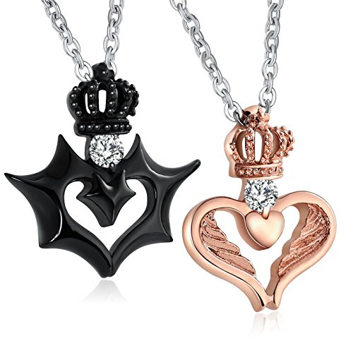 Aeici Jewelry Couples Necklace for Him and Her Stainless Steel Angel Devil Wing Crown Pendant CZ