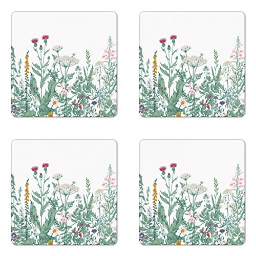 Ambesonne Floral Coaster Set of 4, Vanished Colored Messy Wild Herb Medley of Cow Parsley Musk Mallow and Purple Orchid, Square Hardboard Gloss Coasters for Drinks, Multicolor