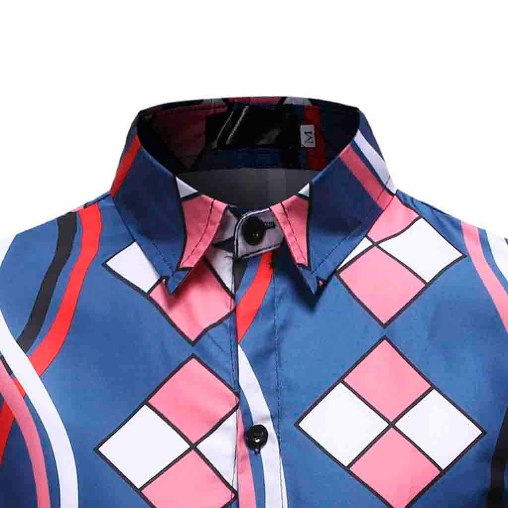 iNoDoZ Long Sleeve Top for Men Plaid Casual Button Turn-Down Collar Slim Fit Shirt Top Blouse