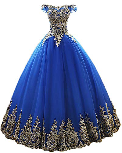 Onlybridal Women\u0027s Sleeveless Quinceanera Dresses Royal Blue Gold Lace Long  Party Prom Ball Gowns US8