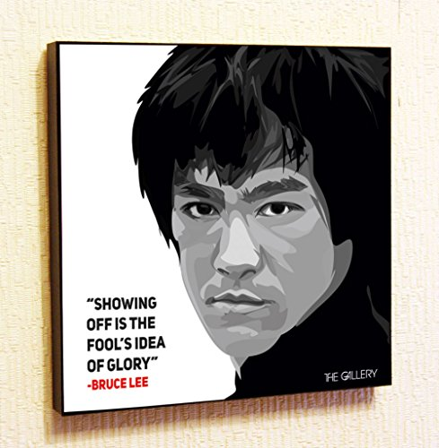 Bruce Lee Motivational Quotes Wall Decals Pop Art Gifts Portrait Framed Famous Paintings on Acrylic Canvas Poster Prints Artwork Geek Decor Wood (10x10 (25.4cm x 25.4cm))