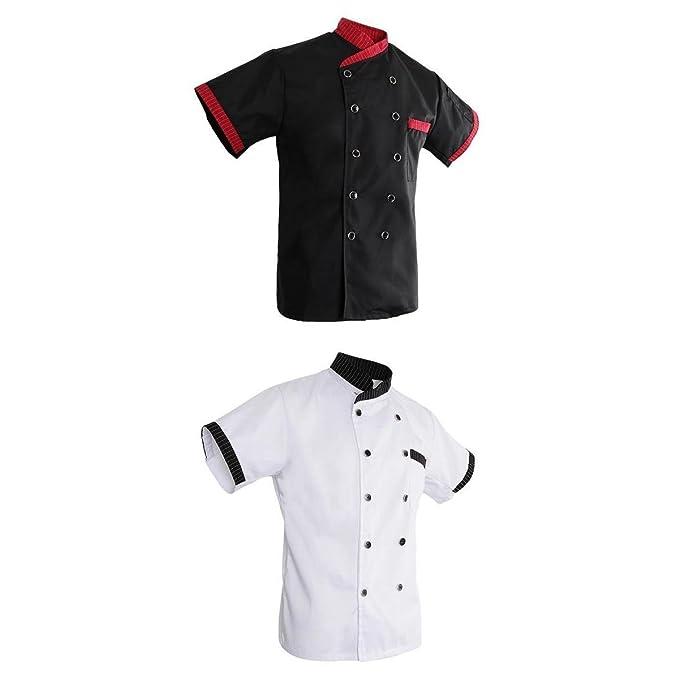 D DOLITY Set de 2x Chaqueta Uniforme Especial para Cocinero Camarero Hotel Panadería Trabajadores de Restaurante L Negro Blanco - Blanco, L: Amazon.es: Ropa ...