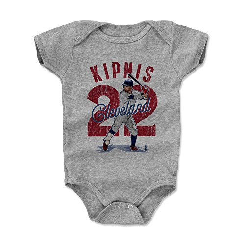 500 LEVEL Jason Kipnis Baby Clothes, Onesie, Creeper, Bodysuit 3-6 Months Heather Gray - Cleveland Baseball Baby Clothes - Jason Kipnis Arch (Cleveland Indians Arch)