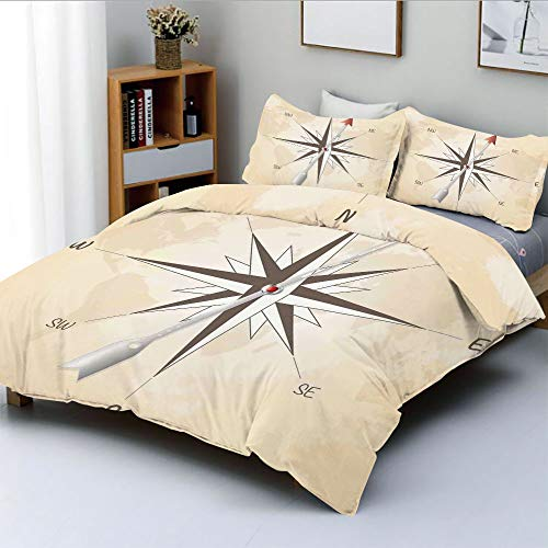 (Duplex Print Duvet Cover Set Twin Size,Compass Rose with Metal Arrow on Vintage Grungy Background Travel Navigation ArtDecorative 3 Piece Bedding Set with 2 Pillow Sham,Beige Red,Best Gift For Kids)