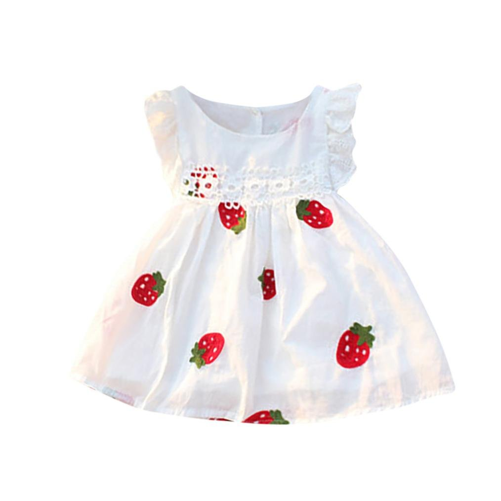 New Arrival Summer Dress, Baby Girls Dresses Floral Strawberry Embroidery Sleeveless Kids Clothing For 0-5 Years Old (White#1, 0-6M)