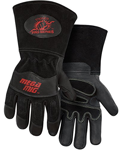 Glove Cowhide Lined Grain - Steiner 0235-2X Pro-Series MegaMIG Cotton Lined Heavyweight Grain Goatskin and Split Cowhide Back MIG Welding Gloves with 4.5