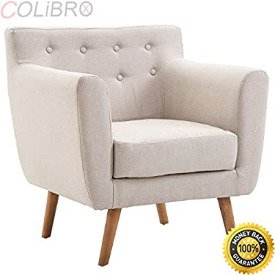 Amazon.com: COLIBROX--Arm Chair Tufted Back Fabric ...
