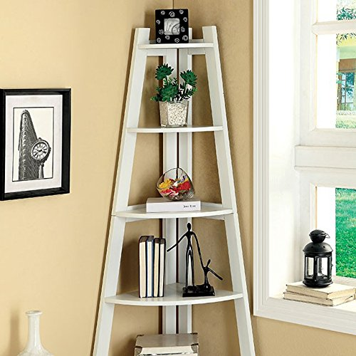 Corner Ladder Bookcase (247SHOPATHOME Idf-AC6214WH Bookcases, White)