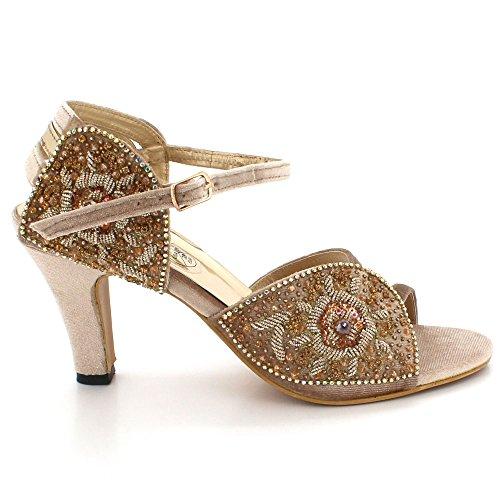 Bal Open Soir Taille Cristal de Dames Chaussures Mariage De Femmes Or Toe mariée Diamante Talon Sandales Mi Fête Ravtxwq