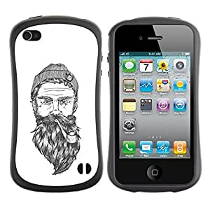 LASTONE PHONE CASE / Suave Silicona Caso Carcasa de Caucho Funda para Apple Iphone 4 / 4S / beard captain white art man pipe seaman