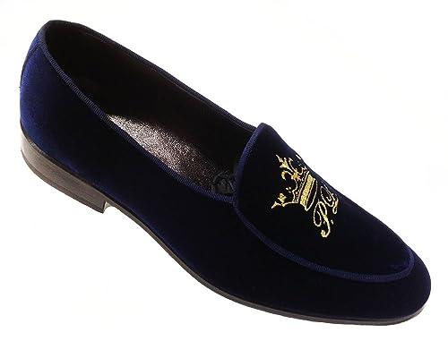 Garofalo Gianbattista Mocasines de Terciopelo para Hombre Azul Azul Oscuro: Amazon.es: Zapatos y complementos