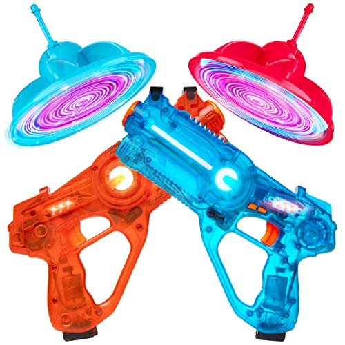 Laser Launchers Laser Tag Gun Set - Lazer Tag 2 Player Shooting Games with 2 Toy Guns, 2 Flying Toy Targets