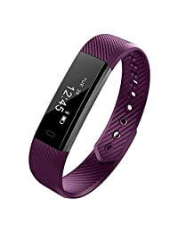 Heart Rate Monitor ID115 HR Touch Activity Tracker and Sleep Monitor Pedometer Calories Track Smart Fitness Tracker Sports Wristband Watch Bracelet Bluetooth for Android IOS (Purle)