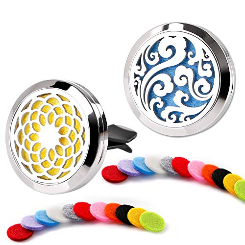 2 Pack Car Essential Oil Perfume Diffuser Stainless Steel Locket Ugprade Car Vent Clip 22 Replacement Felt Pads