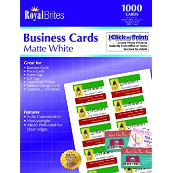 Amazoncom Royal Brites Matte Business Cards White 2 X 35