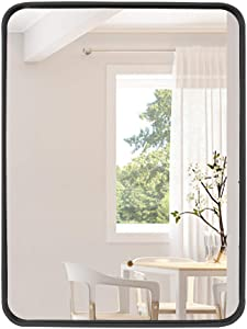 31.5X 23.6 Inch Bathroom Wall Mirror- Rectangle Metal Framed Wall-Mounted Mirrors for Living Room or Bedroom,Black Large Mirror Wall Mirrors Decorative Rounded Corner Deep Set Design
