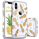 BENTOBEN iPhone X Case, iPhone 10 Case, Shockproof Slim [Support Wireless Charging] [Anti-Scratch] Gold Pineapple Design Hybrid Hard PC Soft Rubber Glossy Protective Case for iPhone X,White/Gold