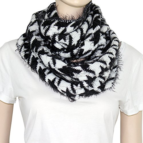 Soft Knit Houndstooth Infinity Scarf (Black and White)