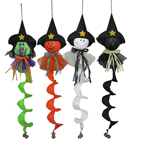 Set of 4 Ghost Witch Pumpkin Bats 36-Inch Scarecrow Halloween Fall Harvest (Bat Halloween Makeup Tutorial)
