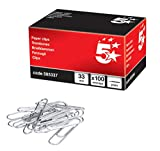 5 Star Paperclips Metal Large 33mm Plain [Pack of 100]