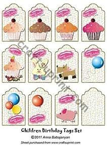 Los niños cumpleaños juego de etiquetas por Anna Babajanyan
