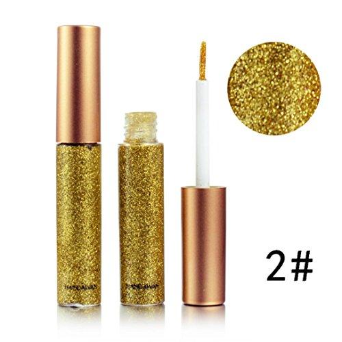 Baomabao Metallic Shiny Smoky Eyes Eyeshadow Glitter Liquid Eyeliner Waterproof (B)