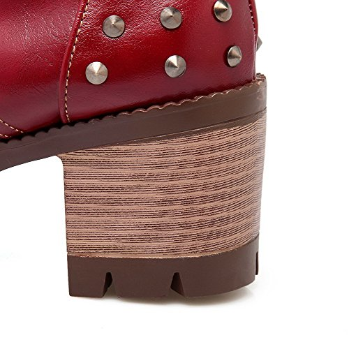 High Up Soft Closed Toe Material Boots Lace Round Claret Heels AmoonyFashion Solid Womens 5vq4T4