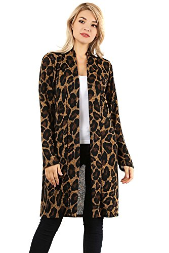 Modern Kiwi City Chic Leopard Print Long Knit Cardigan Brown Extra Large