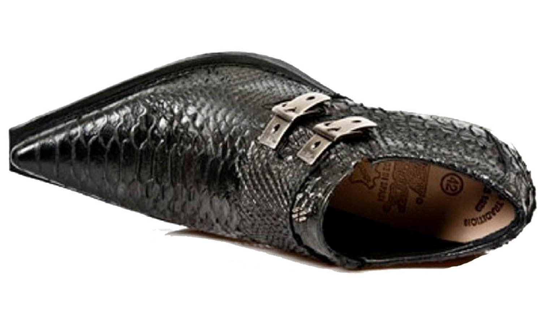 New Rock Black Crocodile Skin Formal/Smart Cuban Style Silver Heel Shoe  with Side Buckles: Amazon.co.uk: Shoes & Bags