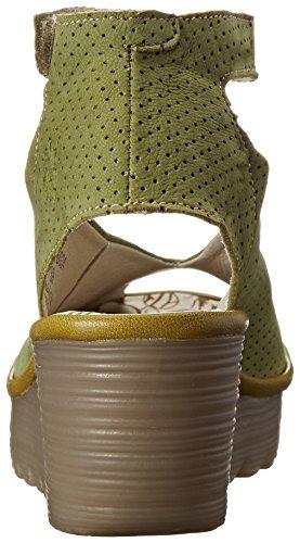 Fly Londra Donna Yala Traforato Sandalo Con Zeppa Pistacchio / Verde Chiaro